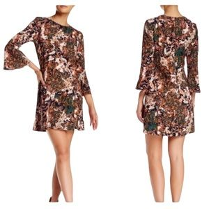 WAYF Where Are You From Bell Sleeve Retro Orange Paisley Mini Dress